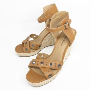 LUCKY BRAND Leather Wedge Espadrille Tan Sandals